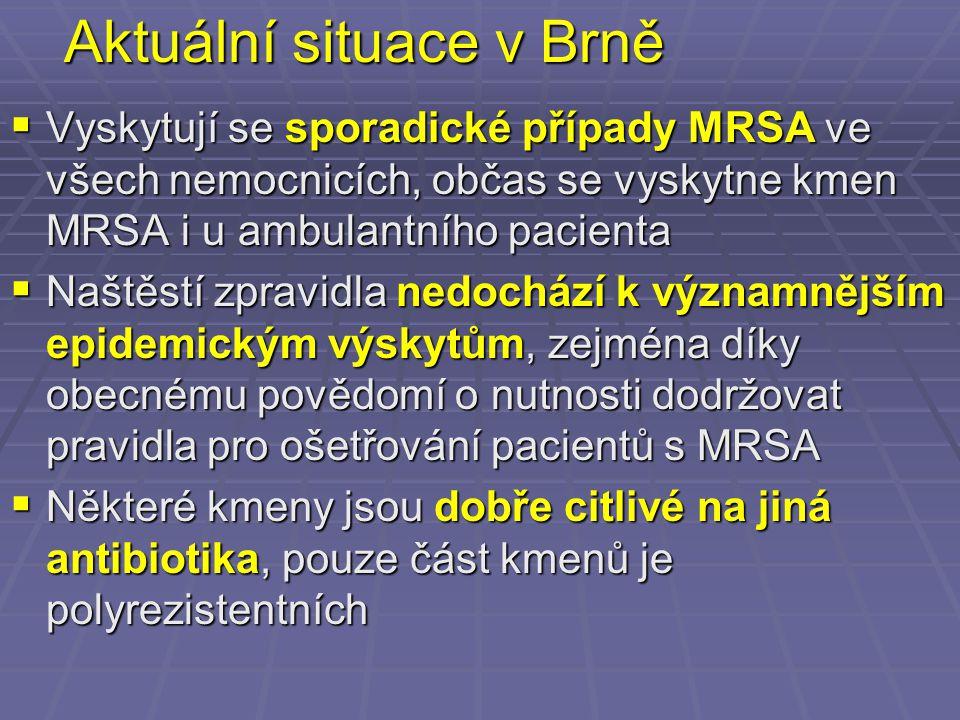 Aktuální situace v Brně  Vyskytují se sporadické případy MRSA ve všech nemocnicích, občas se vyskytne kmen MRSA i u ambulantního pacienta  Naštěstí