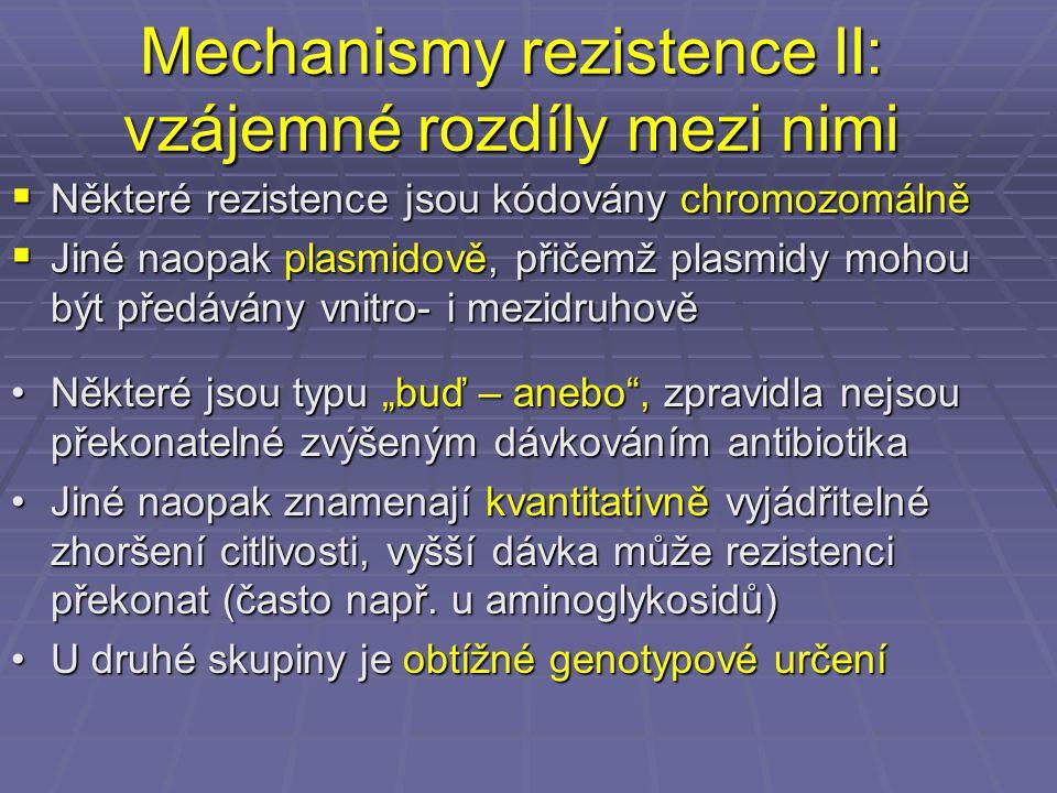 Mechanismy rezistence II: vzájemné rozdíly mezi nimi  Některé rezistence jsou kódovány chromozomálně  Jiné naopak plasmidově, přičemž plasmidy mohou