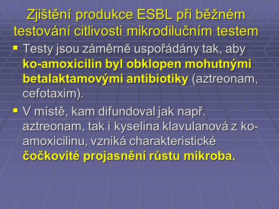 Zjištění produkce ESBL při běžném testování citlivosti mikrodilučním testem  Testy jsou záměrně uspořádány tak, aby ko-amoxicilin byl obklopen mohutn