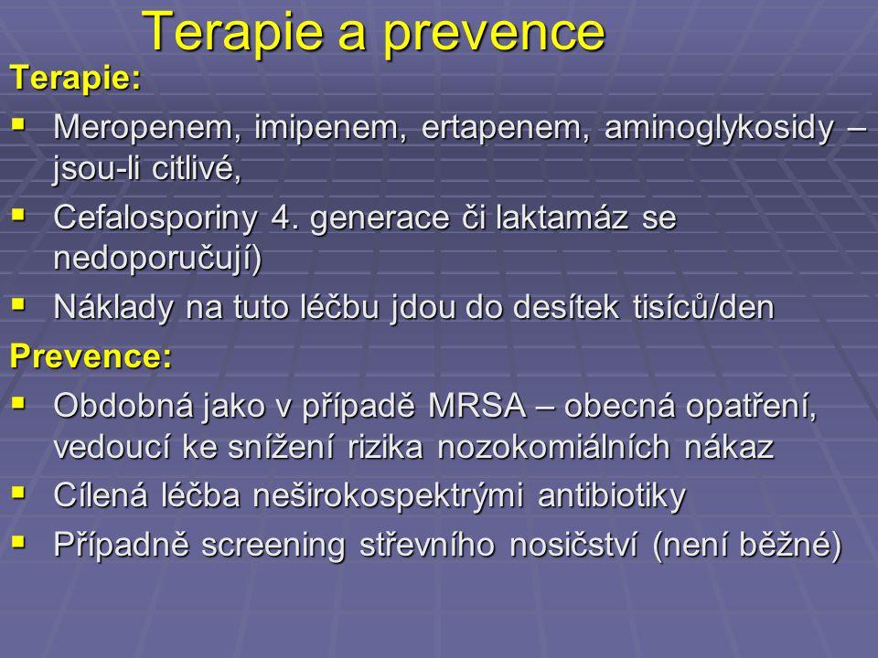 Terapie a prevence Terapie:  Meropenem, imipenem, ertapenem, aminoglykosidy – jsou-li citlivé,  Cefalosporiny 4. generace či laktamáz se nedoporučuj