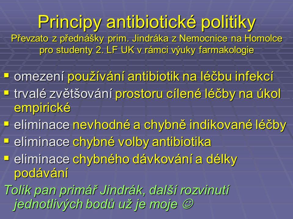 Principy antibiotické politiky Převzato z přednášky prim. Jindráka z Nemocnice na Homolce pro studenty 2. LF UK v rámci výuky farmakologie  omezení p