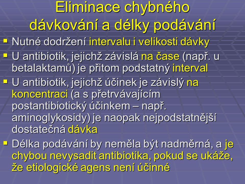 Eliminace chybného dávkování a délky podávání  Nutné dodržení intervalu i velikosti dávky  U antibiotik, jejichž závislá na čase (např. u betalaktam
