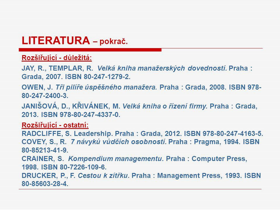 LITERATURA – pokrač. Rozšiřující - důležitá: JAY, R., TEMPLAR, R.