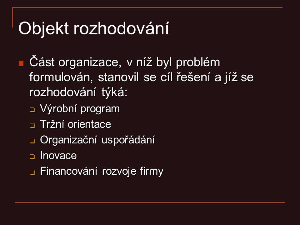 Objekt rozhodování Část organizace, v níž byl problém formulován, stanovil se cíl řešení a jíž se rozhodování týká: Část organizace, v níž byl problém