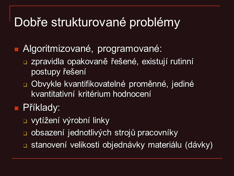 Dobře strukturované problémy Algoritmizované, programované: Algoritmizované, programované:  zpravidla opakovaně řešené, existují rutinní postupy řeše