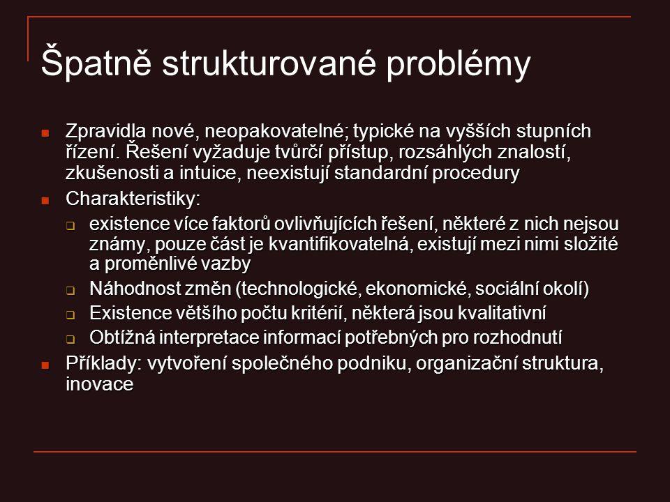 Špatně strukturované problémy Zpravidla nové, neopakovatelné; typické na vyšších stupních řízení. Řešení vyžaduje tvůrčí přístup, rozsáhlých znalostí,