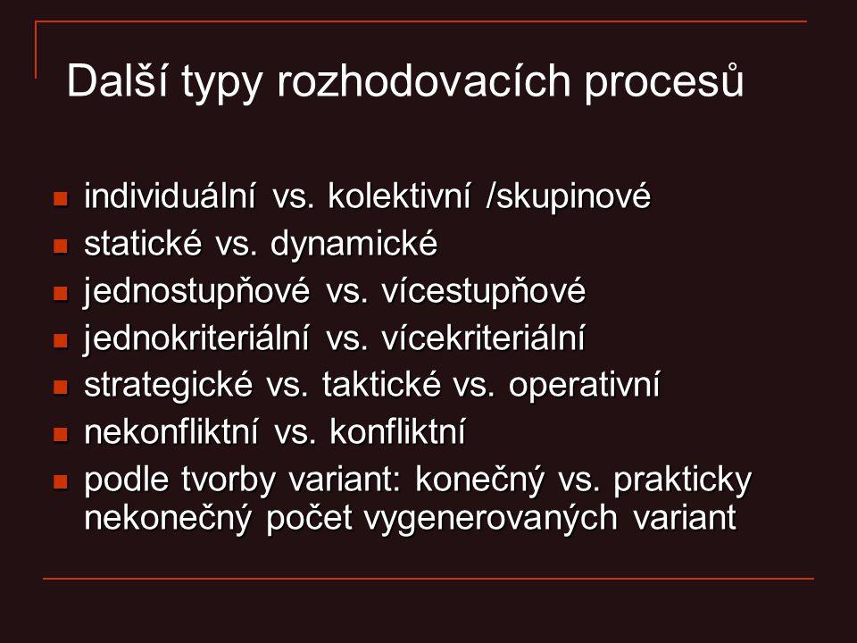 Další typy rozhodovacích procesů individuální vs. kolektivní /skupinové individuální vs. kolektivní /skupinové statické vs. dynamické statické vs. dyn