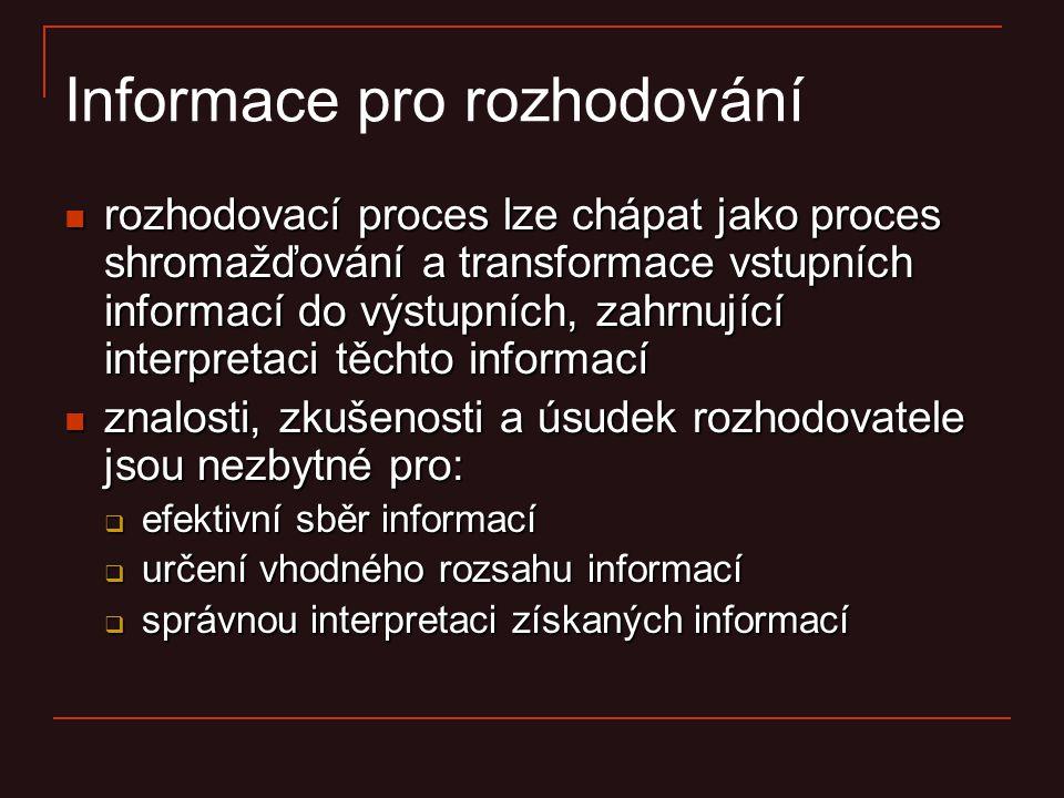 Informace pro rozhodování rozhodovací proces lze chápat jako proces shromažďování a transformace vstupních informací do výstupních, zahrnující interpr