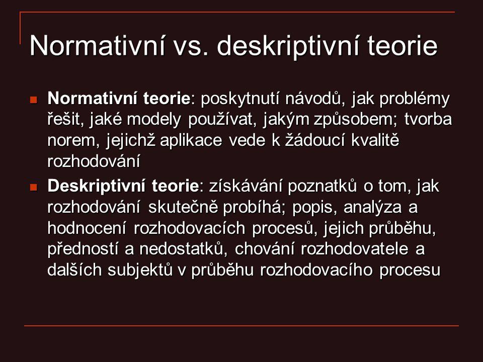 Normativní vs. deskriptivní teorie Normativní teorie: poskytnutí návodů, jak problémy řešit, jaké modely používat, jakým způsobem; tvorba norem, jejic