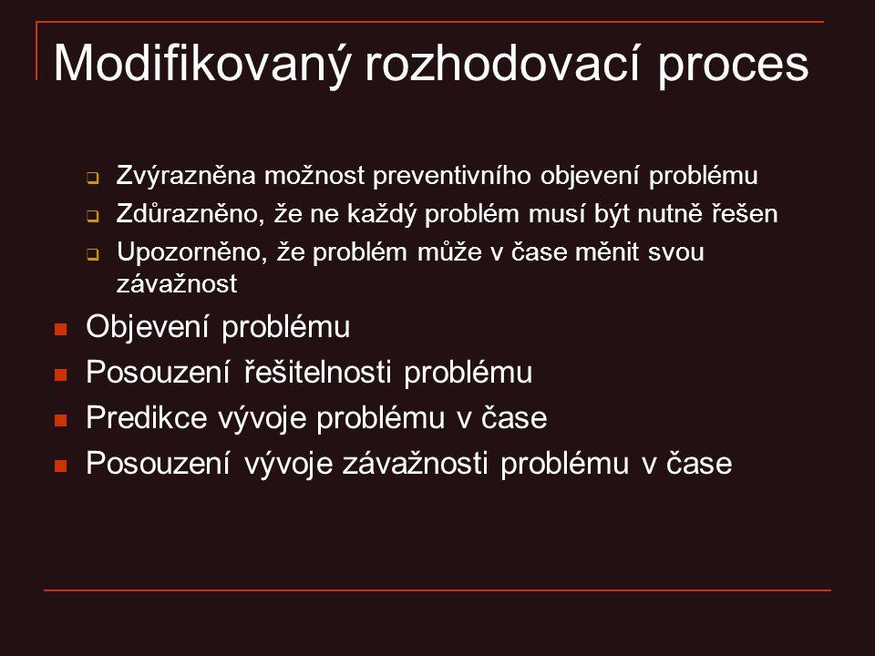 Modifikovaný rozhodovací proces  Zvýrazněna možnost preventivního objevení problému  Zdůrazněno, že ne každý problém musí být nutně řešen  Upozorně