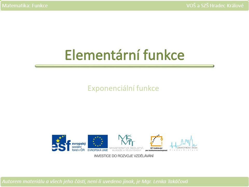 Exponenciální funkce Matematika: Funkce VOŠ a SZŠ Hradec Králové Autorem materiálu a všech jeho částí, není-li uvedeno jinak, je Mgr.