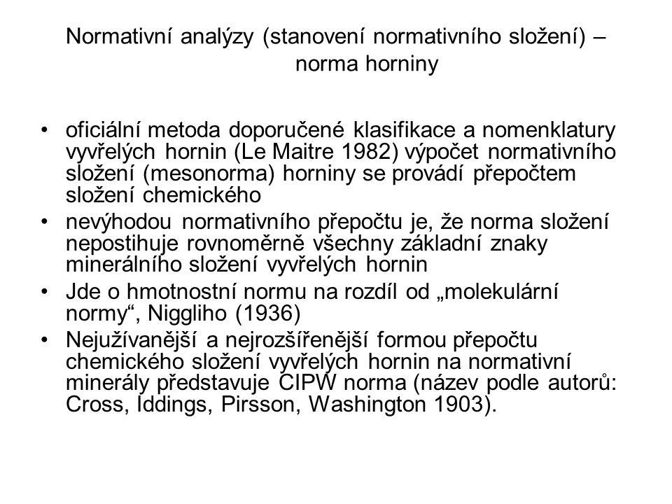 """Normativní analýzy (stanovení normativního složení) – norma horniny oficiální metoda doporučené klasifikace a nomenklatury vyvřelých hornin (Le Maitre 1982) výpočet normativního složení (mesonorma) horniny se provádí přepočtem složení chemického nevýhodou normativního přepočtu je, že norma složení nepostihuje rovnoměrně všechny základní znaky minerálního složení vyvřelých hornin Jde o hmotnostní normu na rozdíl od """"molekulární normy , Niggliho (1936) Nejužívanější a nejrozšířenější formou přepočtu chemického složení vyvřelých hornin na normativní minerály představuje CIPW norma (název podle autorů: Cross, Iddings, Pirsson, Washington 1903)."""