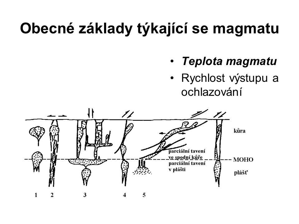 Obecné základy týkající se magmatu Teplota magmatu Rychlost výstupu a ochlazování