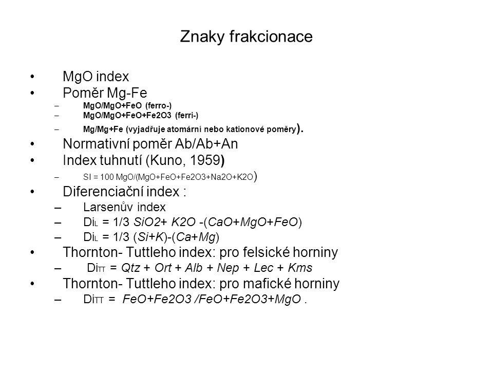 Znaky frakcionace MgO index Poměr Mg-Fe –MgO/MgO+FeO (ferro-) –MgO/MgO+FeO+Fe2O3 (ferri-) –Mg/Mg+Fe (vyjadřuje atomární nebo kationové poměry ).