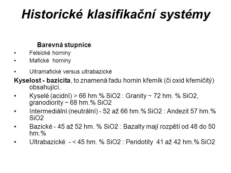 Historické klasifikační systémy Barevná stupnice Felsické horniny Mafické horniny Ultramafické versus ultrabazické Kyselost - bazicita, to znamená řadu hornin křemík (či oxid křemičitý) obsahující.