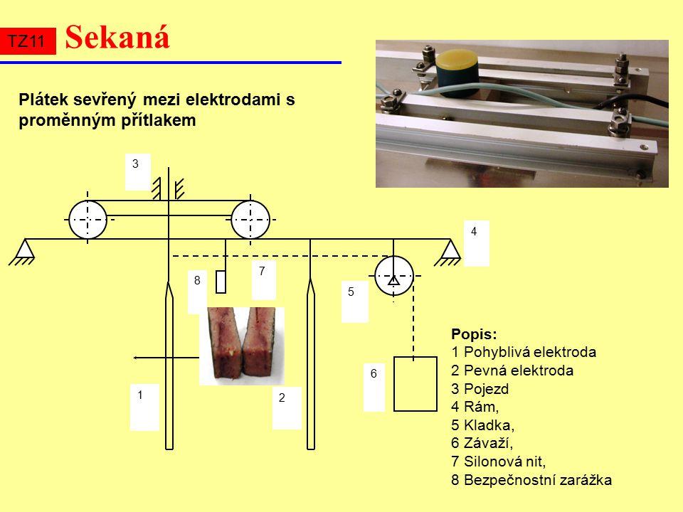 Sekaná Plátek sevřený mezi elektrodami s proměnným přítlakem 1 2 4 5 6 7 3 8 Popis: 1 Pohyblivá elektroda 2 Pevná elektroda 3 Pojezd 4 Rám, 5 Kladka, 6 Závaží, 7 Silonová nit, 8 Bezpečnostní zarážka TZ11