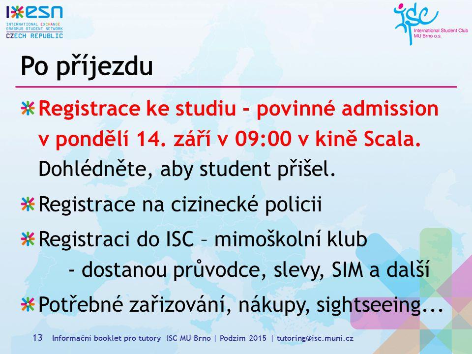 Registrace ke studiu - povinné admission v pondělí 14.