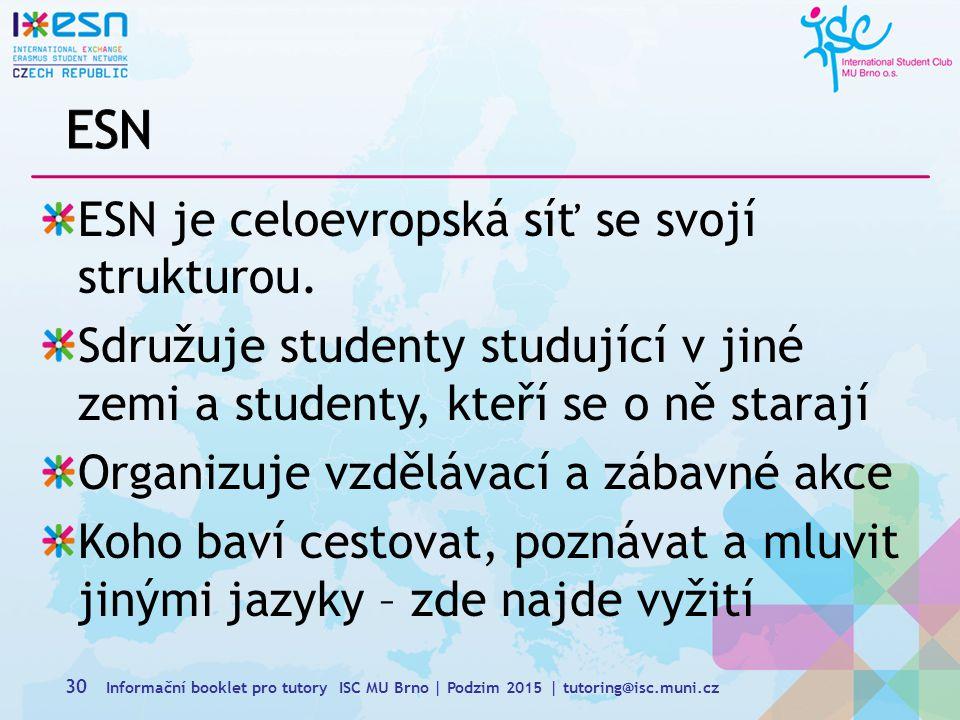 30 ESN je celoevropská síť se svojí strukturou.