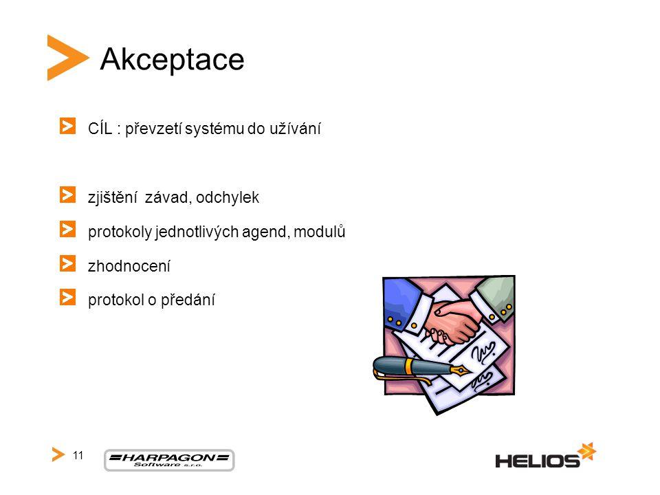Akceptace CÍL : převzetí systému do užívání zjištění závad, odchylek protokoly jednotlivých agend, modulů zhodnocení protokol o předání 11