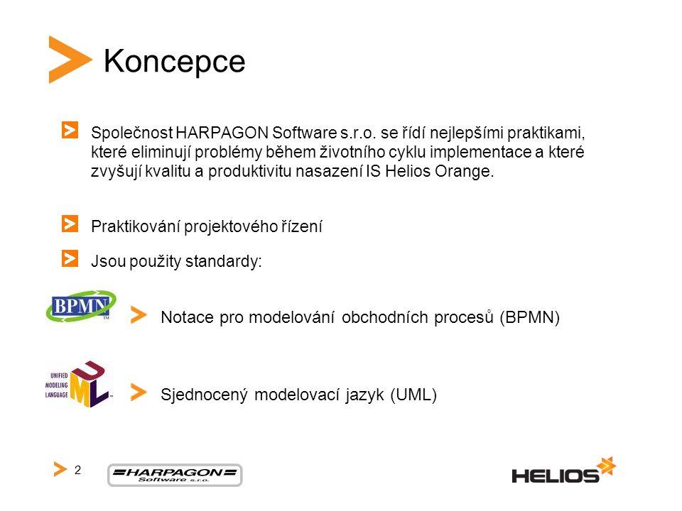 Koncepce Společnost HARPAGON Software s.r.o. se řídí nejlepšími praktikami, které eliminují problémy během životního cyklu implementace a které zvyšuj
