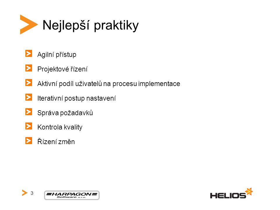 Nejlepší praktiky Agilní přístup Projektové řízení Aktivní podíl uživatelů na procesu implementace Iterativní postup nastavení Správa požadavků Kontrola kvality Řízení změn 3