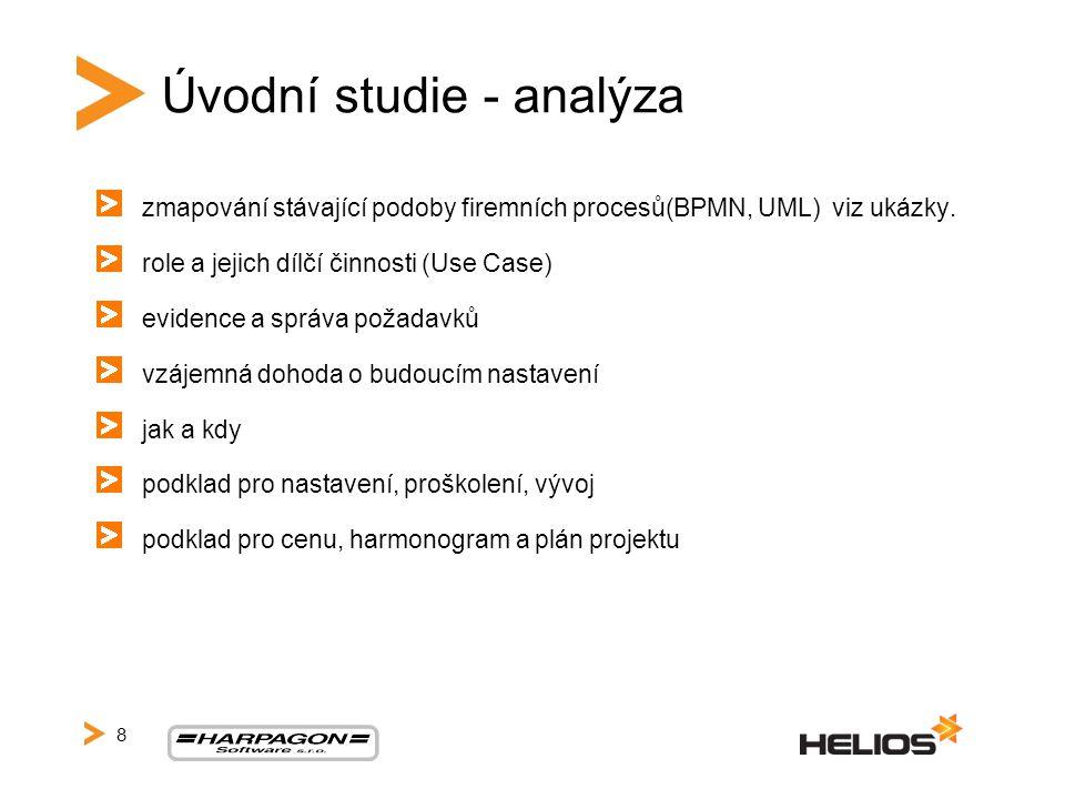 Úvodní studie - analýza zmapování stávající podoby firemních procesů(BPMN, UML) viz ukázky. role a jejich dílčí činnosti (Use Case) evidence a správa
