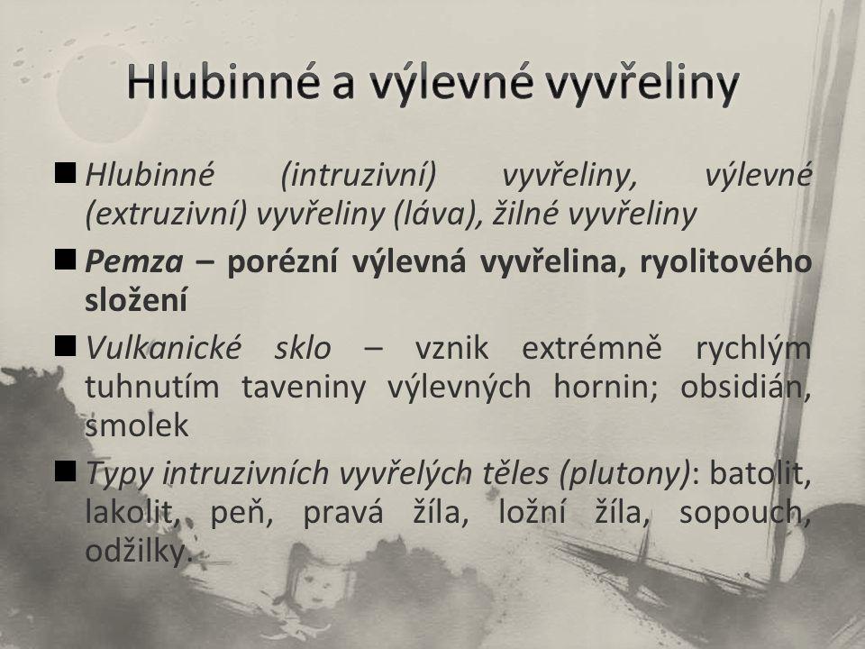 Hlubinné (intruzivní) vyvřeliny, výlevné (extruzivní) vyvřeliny (láva), žilné vyvřeliny Pemza – porézní výlevná vyvřelina, ryolitového složení Vulkani