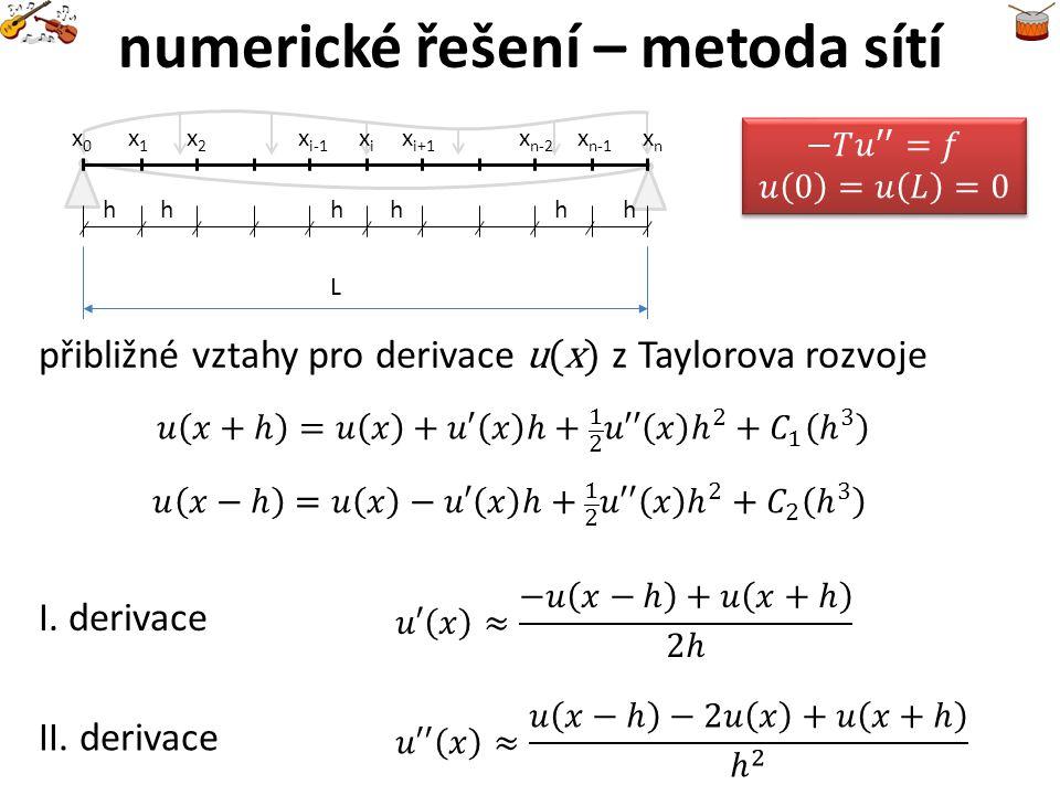 numerické řešení – metoda sítí přibližné vztahy pro derivace u(x) z Taylorova rozvoje I. derivace II. derivace L x1x1 x0x0 x2x2 x i-1 xixi x i+1 xnxn