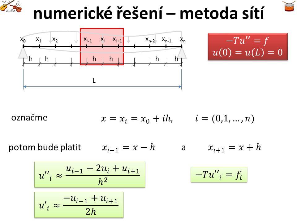 numerické řešení – metoda sítí označme potom bude platita L x1x1 x0x0 x2x2 x i-1 xixi x i+1 xnxn x n-1 hhhhh x n-2 h
