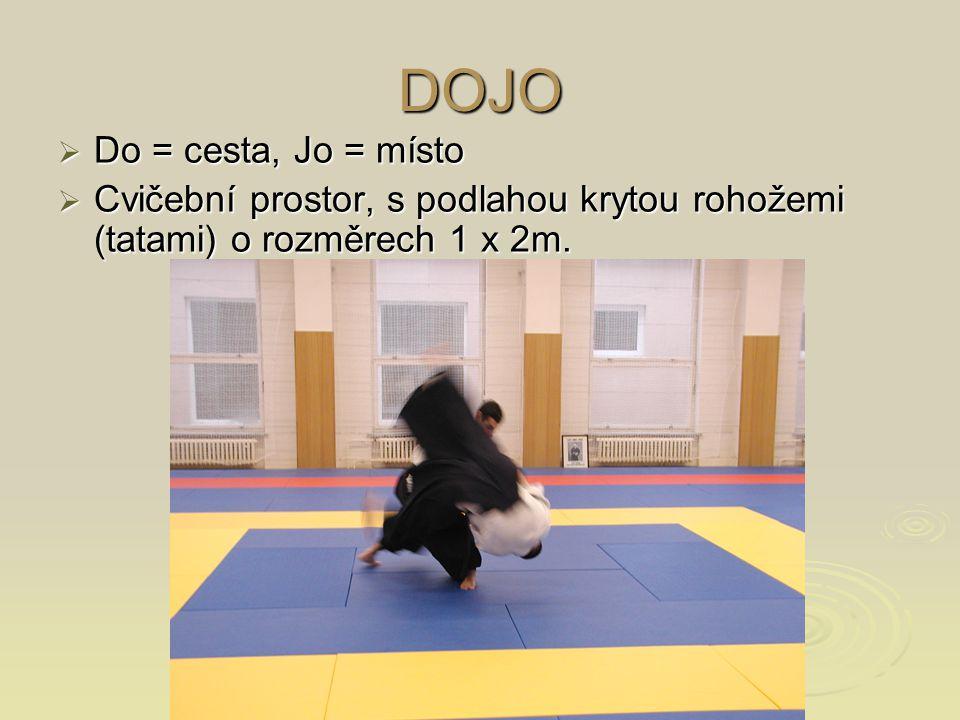 DOJO  Do = cesta, Jo = místo  Cvičební prostor, s podlahou krytou rohožemi (tatami) o rozměrech 1 x 2m.