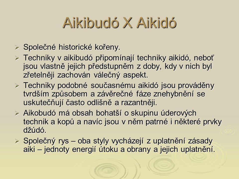 Aikibudó X Aikidó  Společné historické kořeny.  Techniky v aikibudó připomínají techniky aikidó, neboť jsou vlastně jejich předstupněm z doby, kdy v