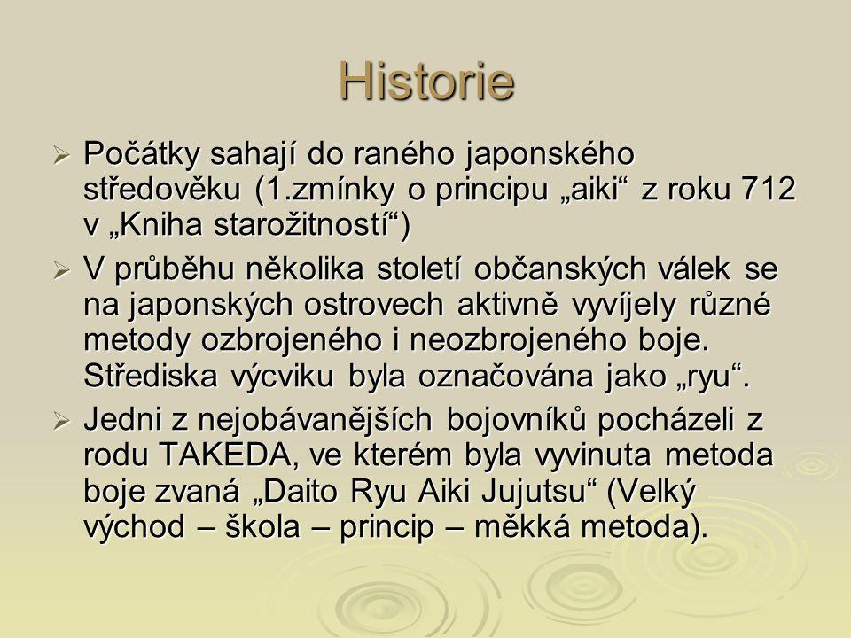 """Historie  Počátky sahají do raného japonského středověku (1.zmínky o principu """"aiki"""" z roku 712 v """"Kniha starožitností"""")  V průběhu několika století"""