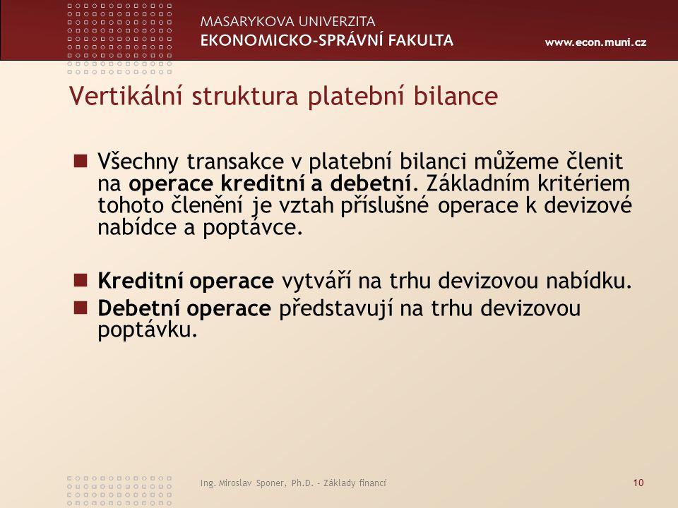 www.econ.muni.cz Vertikální struktura platební bilance Všechny transakce v platební bilanci můžeme členit na operace kreditní a debetní. Základním kri