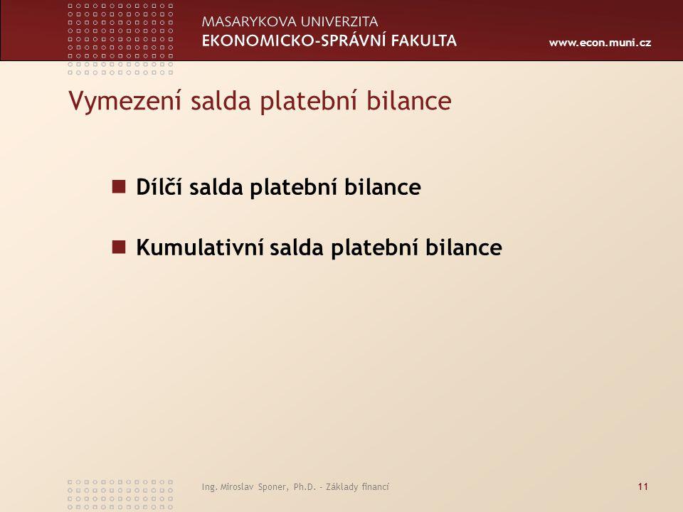 www.econ.muni.cz Ing. Miroslav Sponer, Ph.D. - Základy financí11 Vymezení salda platební bilance Dílčí salda platební bilance Kumulativní salda plateb