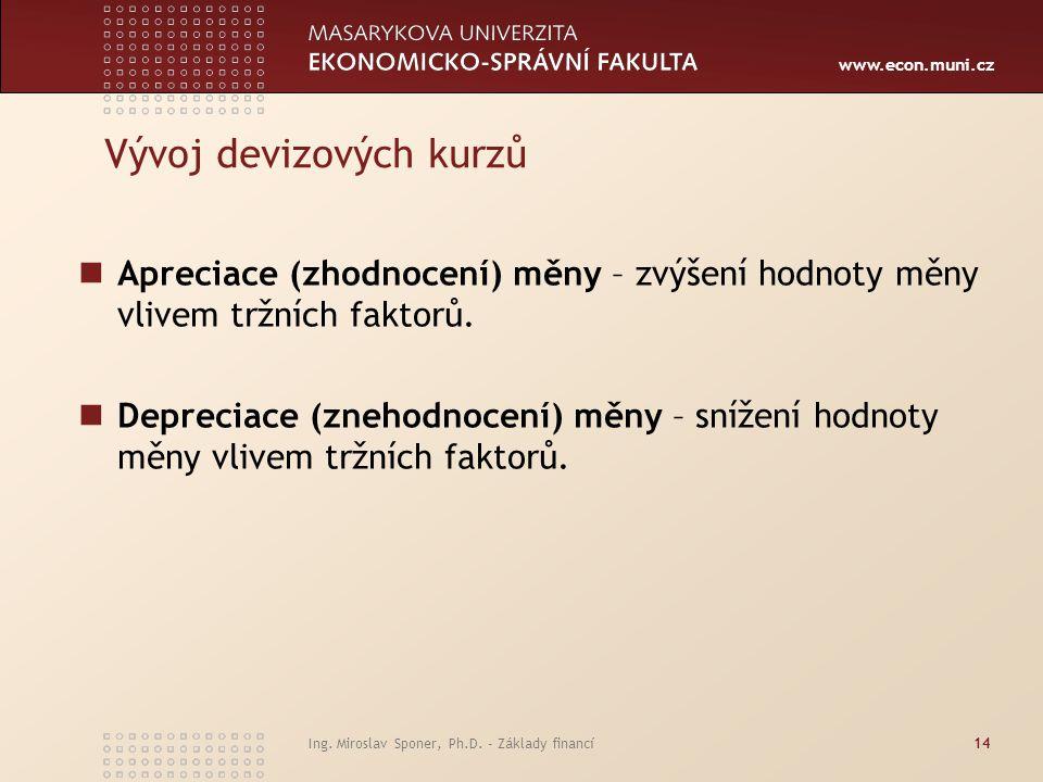 www.econ.muni.cz Vývoj devizových kurzů Apreciace (zhodnocení) měny – zvýšení hodnoty měny vlivem tržních faktorů. Depreciace (znehodnocení) měny – sn