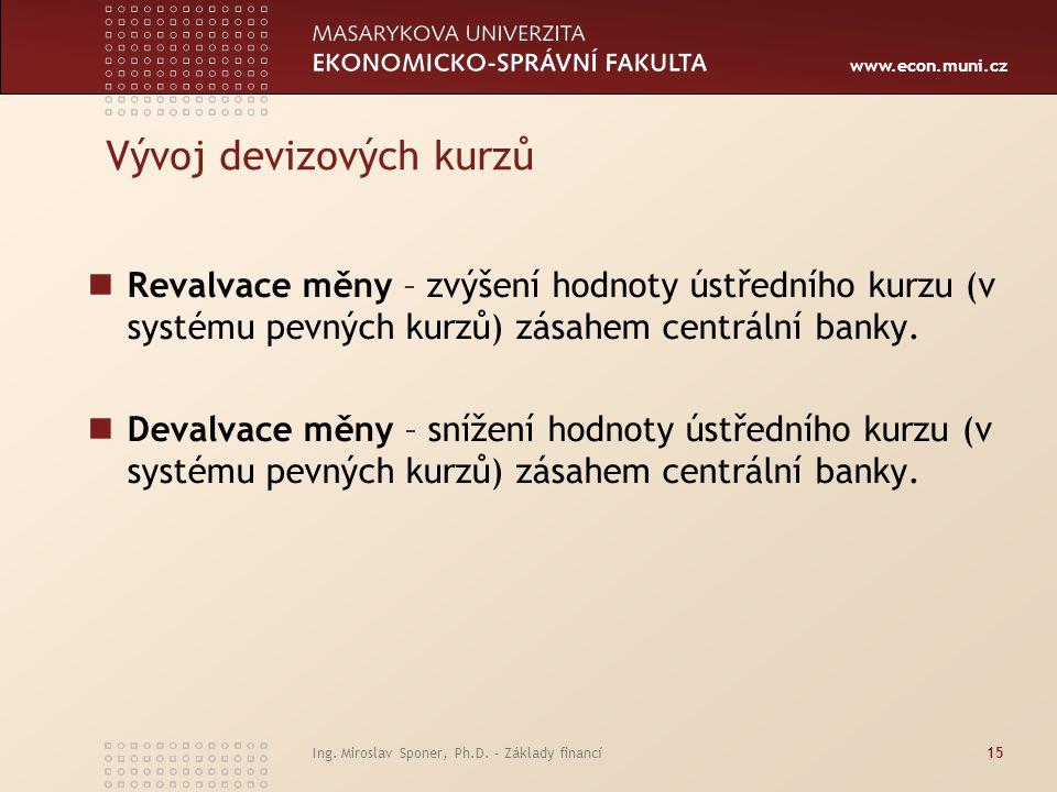 www.econ.muni.cz Vývoj devizových kurzů Revalvace měny – zvýšení hodnoty ústředního kurzu (v systému pevných kurzů) zásahem centrální banky. Devalvace