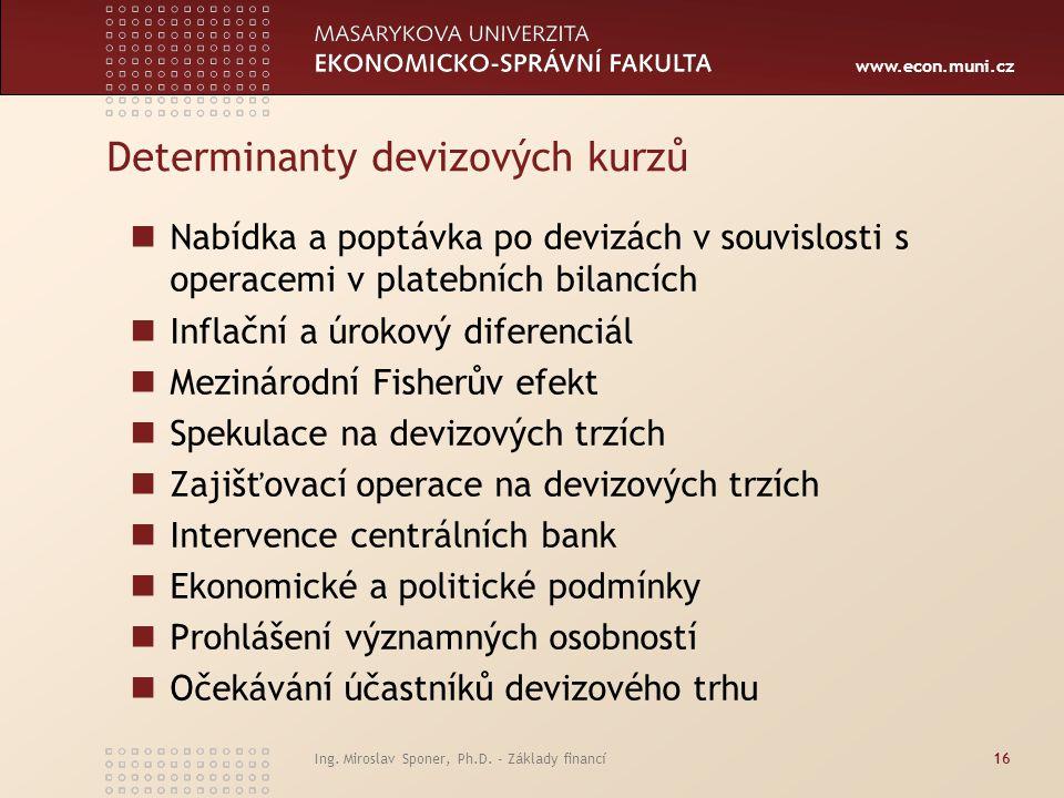 www.econ.muni.cz Determinanty devizových kurzů Nabídka a poptávka po devizách v souvislosti s operacemi v platebních bilancích Inflační a úrokový dife