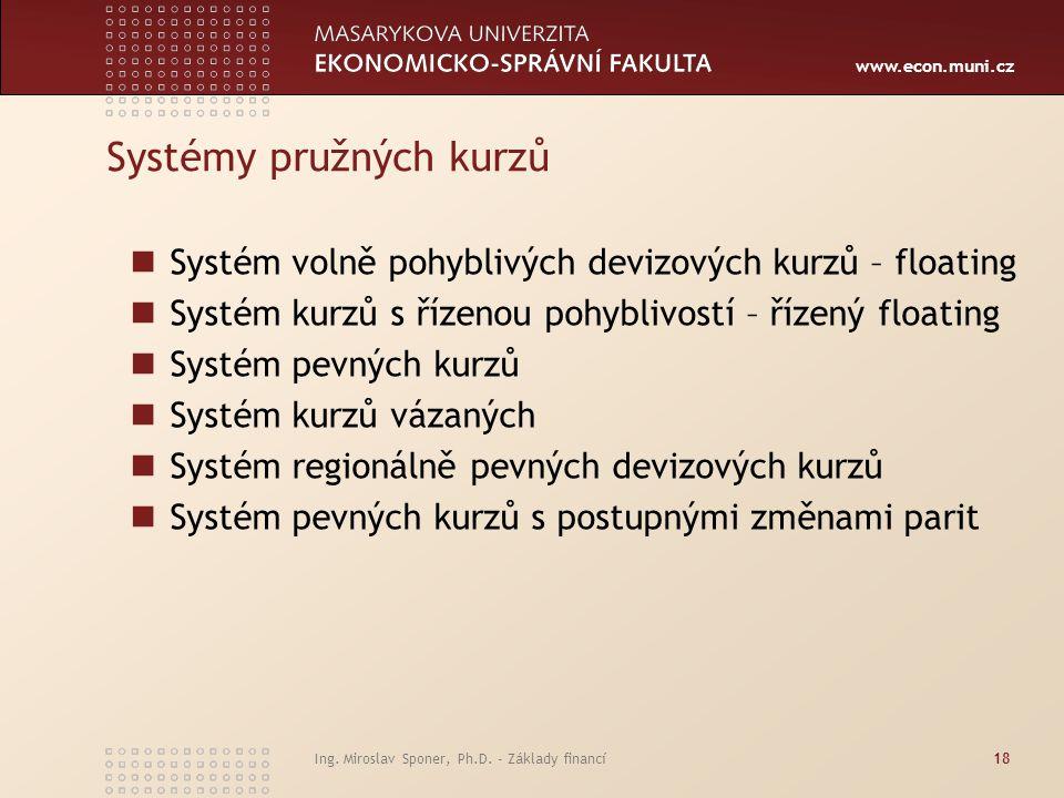 www.econ.muni.cz Systémy pružných kurzů Systém volně pohyblivých devizových kurzů – floating Systém kurzů s řízenou pohyblivostí – řízený floating Sys