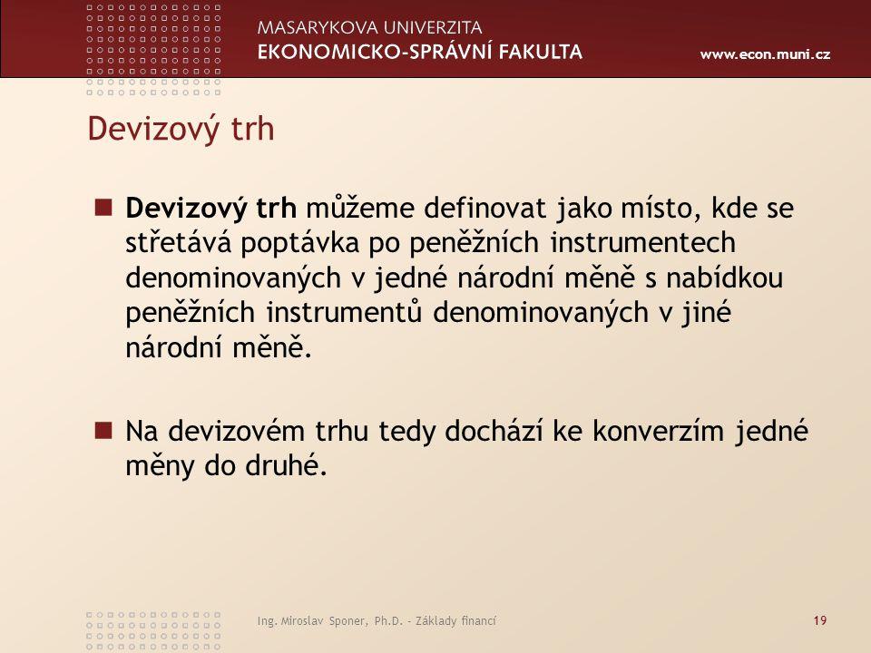 www.econ.muni.cz Devizový trh Devizový trh můžeme definovat jako místo, kde se střetává poptávka po peněžních instrumentech denominovaných v jedné nár
