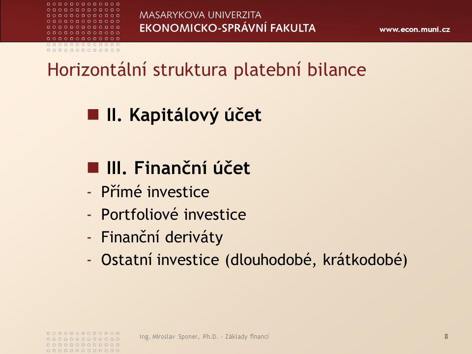 www.econ.muni.cz Ing. Miroslav Sponer, Ph.D. - Základy financí8 Horizontální struktura platební bilance II. Kapitálový účet III. Finanční účet -Přímé
