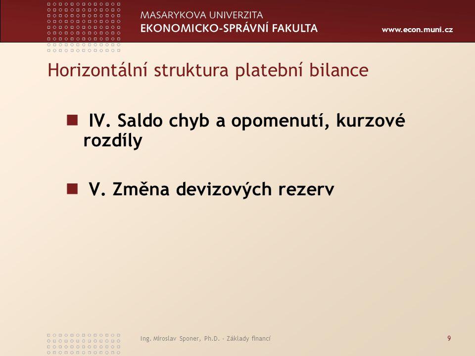 www.econ.muni.cz Ing. Miroslav Sponer, Ph.D. - Základy financí9 Horizontální struktura platební bilance IV. Saldo chyb a opomenutí, kurzové rozdíly V.