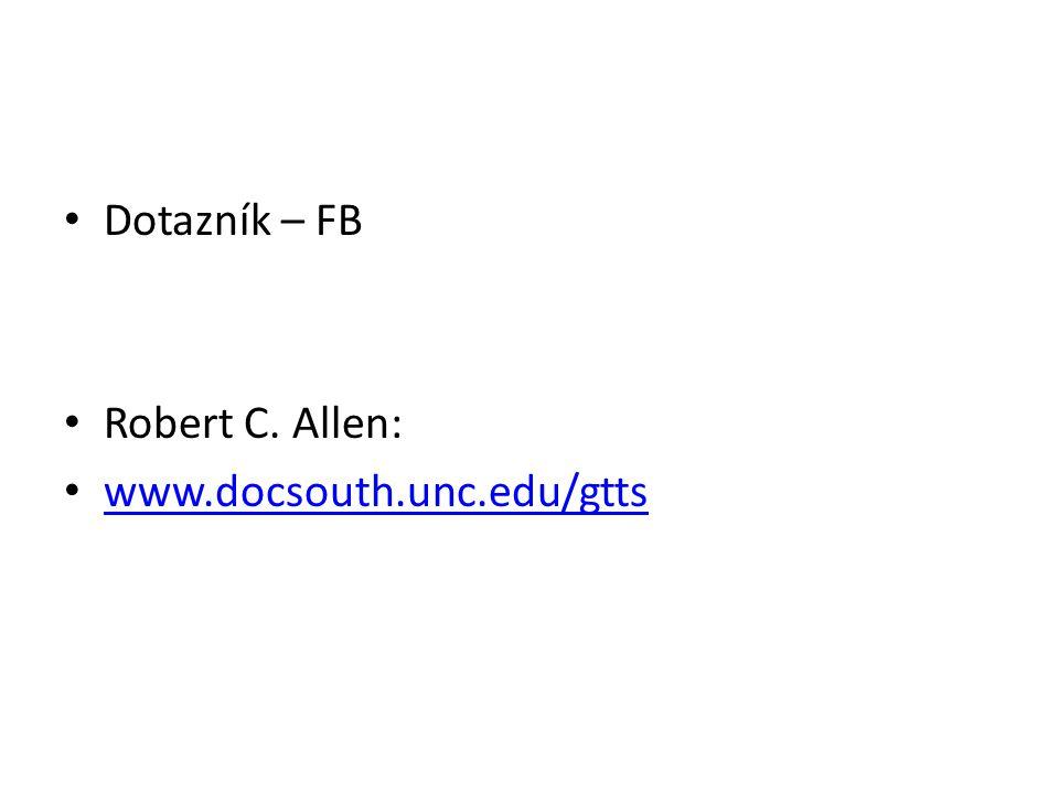 Dotazník – FB Robert C. Allen: www.docsouth.unc.edu/gtts