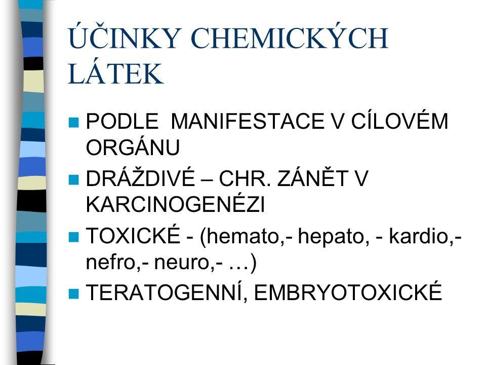 ÚČINKY CHEMICKÝCH LÁTEK PODLE MANIFESTACE V CÍLOVÉM ORGÁNU DRÁŽDIVÉ – CHR. ZÁNĚT V KARCINOGENÉZI TOXICKÉ - (hemato,- hepato, - kardio,- nefro,- neuro,