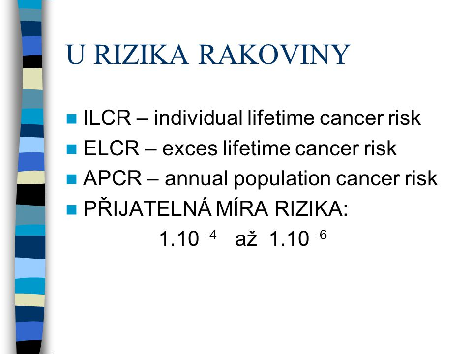 U RIZIKA RAKOVINY ILCR – individual lifetime cancer risk ELCR – exces lifetime cancer risk APCR – annual population cancer risk PŘIJATELNÁ MÍRA RIZIKA