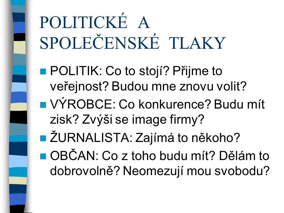 POLITICKÉ A SPOLEČENSKÉ TLAKY POLITIK: Co to stojí? Přijme to veřejnost? Budou mne znovu volit? VÝROBCE: Co konkurence? Budu mít zisk? Zvýši se image