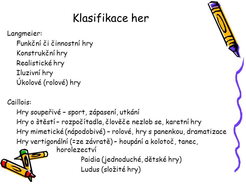 Klasifikace her Langmeier: Funkční či činnostní hry Konstrukční hry Realistické hry Iluzivní hry Úkolové (rolové) hry Caillois: Hry soupeřivé – sport,