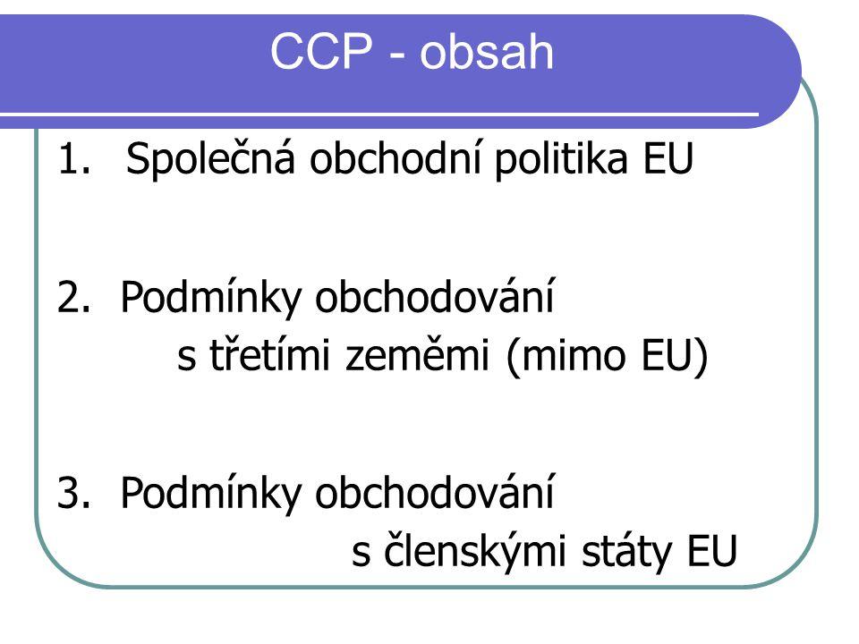 1. Společná obchodní politika EU 2. Podmínky obchodování s třetími zeměmi (mimo EU) 3. Podmínky obchodování s členskými státy EU CCP - obsah