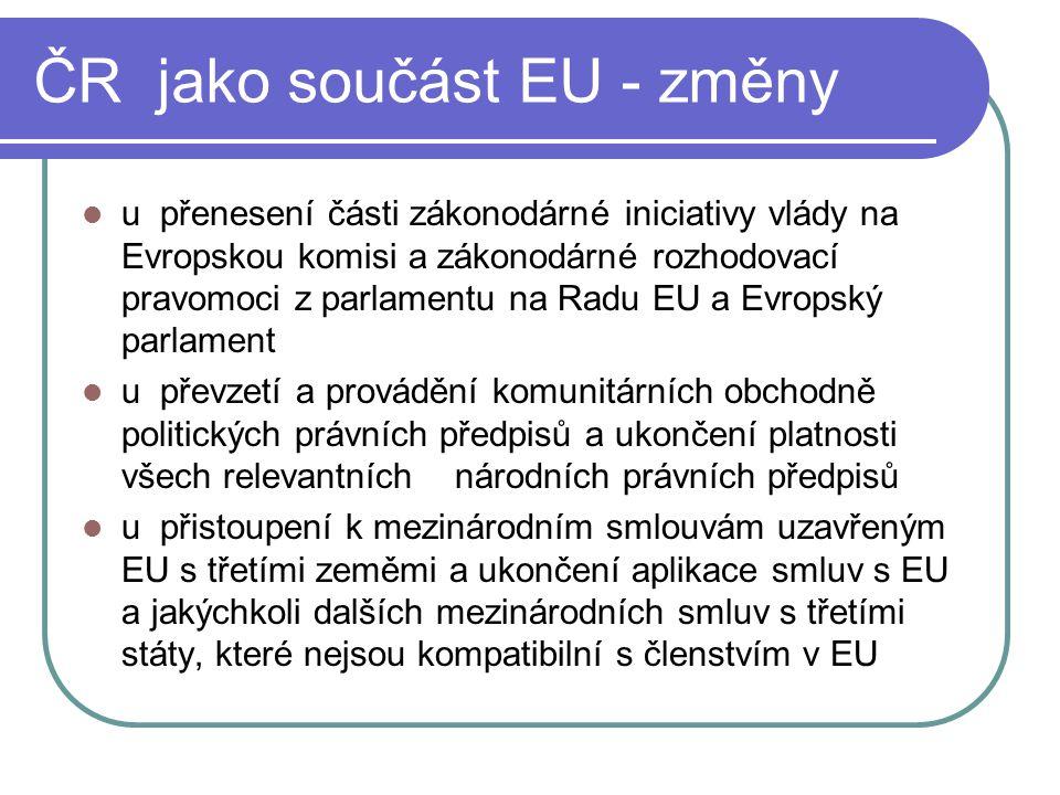 ČR jako součást EU - změny u přenesení části zákonodárné iniciativy vlády na Evropskou komisi a zákonodárné rozhodovací pravomoci z parlamentu na Radu