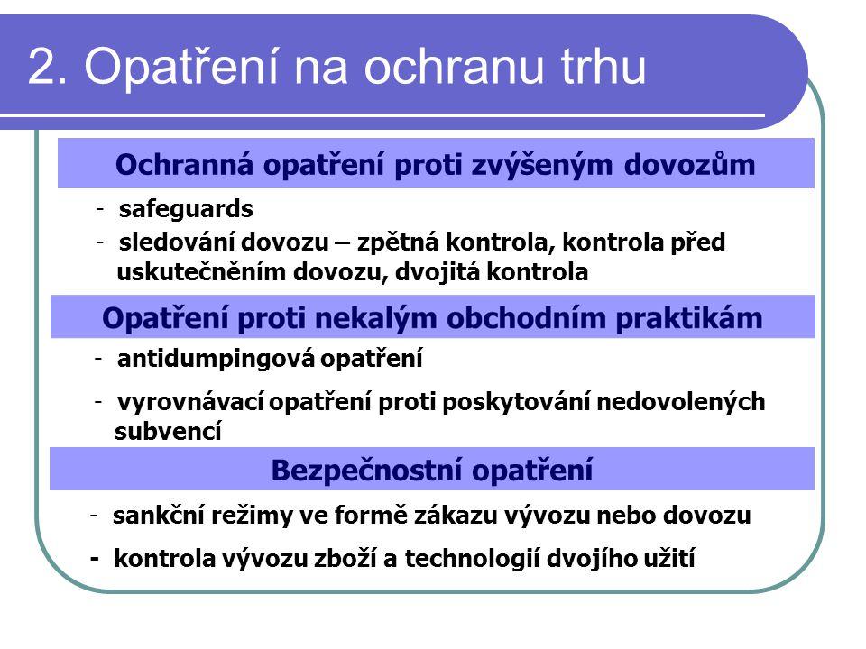 2. Opatření na ochranu trhu Ochranná opatření proti zvýšeným dovozům - safeguards - sledování dovozu – zpětná kontrola, kontrola před uskutečněním dov