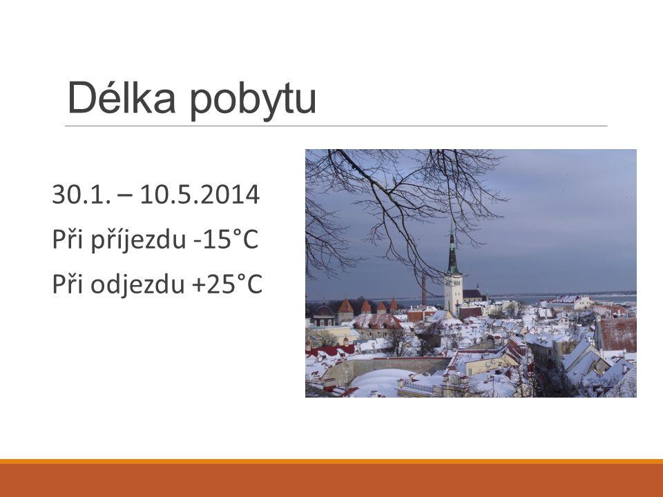Délka pobytu 30.1. – 10.5.2014 Při příjezdu -15°C Při odjezdu +25°C